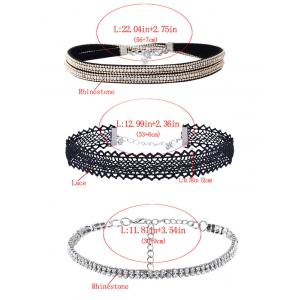 Rhinestone Lace Choker Necklace Set - BLACK