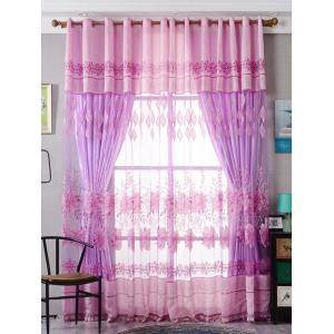 Window Screen Flower Sheer Fabric Tulle with Pendant Decor - Pink - W39 Inch*l98 Inch