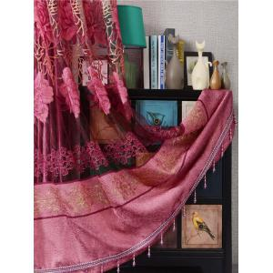 Window Screen Flower Sheer Fabric Tulle with Pendant Decor -