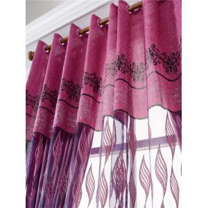 Window Screen Flower Sheer Fabric Tulle with Pendant Decor - PURPLISH RED W39 INCH*L79 INCH