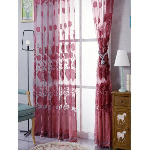 European Sheer Window Flower Tulle Curtain For Living Room - RED W39 INCH*L79 INCH