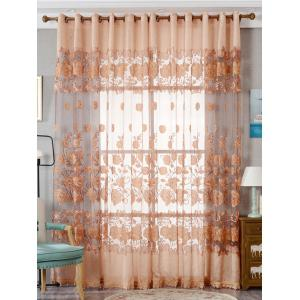 European Sheer Window Flower Tulle Curtain For Living Room - Khaki - W39 Inch*l98 Inch