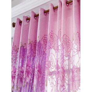Europe Flower Embroidered Sheer Window Screen Tulle - PINK W39 INCH*L79 INCH