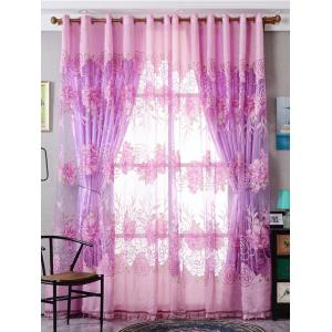 Europe Flower Embroidered Sheer Window Screen Tulle - Pink - W39 Inch*l98 Inch