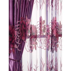 Europe Flower Embroidered Sheer Window Screen Tulle - PURPLISH RED W39 INCH*L79 INCH