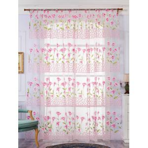 Calla Lily Embroidery Sheer Window Tulle For Bedroom - Pink - W59 Inch*l98 Inch