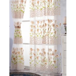 Calla Lily Embroidery Sheer Window Tulle For Bedroom - KHAKI W39 INCH*L79 INCH