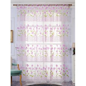 Calla Lily Embroidery Sheer Window Tulle For Bedroom - Light Purple - W39 Inch*l79 Inch