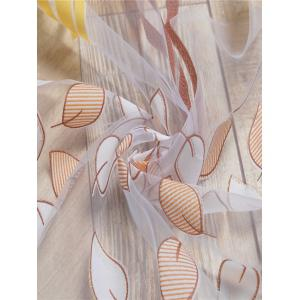 Yellow W59 Inch L98 Inch Leaf Pattern Transparent Tulle