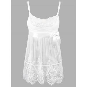Lace Plus Size Slip Badydoll Dress - White - 6xl