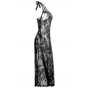 Plus Size Halter Neck Lace Maxi Backless Sheer Dress -