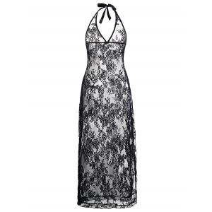Plus Size Halter Neck Lace Maxi Backless Sheer Dress