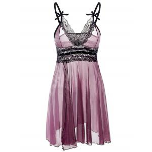 Lace Trim See Through Plus Size Babydoll - Purple - 3xl