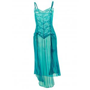 Plus Size Maxi Lace Top Sheer Slip Dress - Green - 6xl
