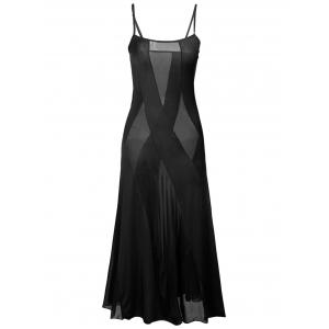 Sheer Plus Size Slip Bandage Long Party Dress - Black - 4xl
