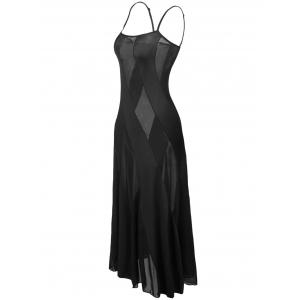 Sheer Plus Size Slip Bandage Long Party Dress - BLACK 6XL