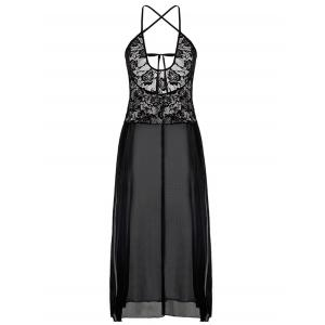 See Through haute Slit Plus Size Dress - Noir 2XL