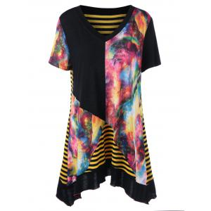 Plus Size V Neck Striped Tie Dye Top