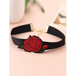 Alloy Floral Embroidered Choker Necklace -