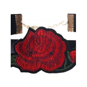 Alloy Floral Embroidered Choker Necklace - RED