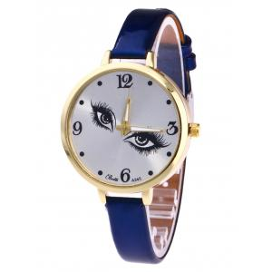YBOTTI Faux Leather Quartz Watch with Pretty Eyes - Blue