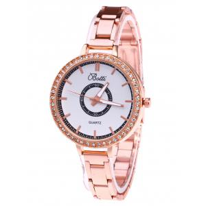 YBOTTI Alloy Rhinstone Analog Quartz Watch - Rose Gold