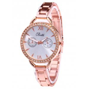 YBOTTI Alloy Rhinestone Wrist Quartz Watch - Rose Gold