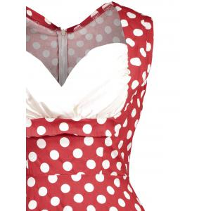 Retro Sleeveless Polka Dot Pin Up Dress - RED 2XL