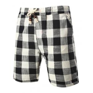Drawstring Elastic Waist Plaid Linen Shorts - Black - 5xl
