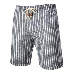 Drawstring Elastic Waist Striped Linen Shorts