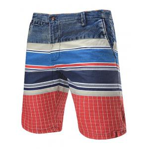 Zip Fly Color Block Denim Panel Shorts - Red - 38