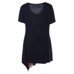 Plus Size V Neck Asymmetirc T-Shirt -