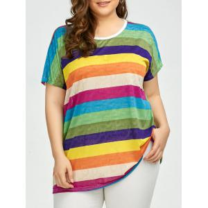 Plus Size Colored Stripe longue Tee
