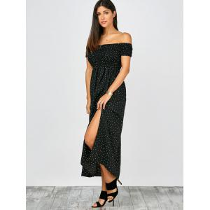 Off The Shoulder Split Maxi Dress - BLACK S