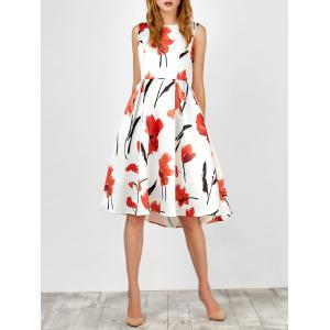 Sleeveless Flower Tea Length Dress