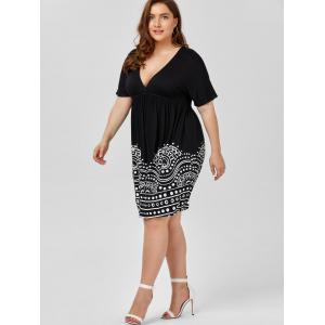 Low Cut Empire Waist Plus Size A Line Dress - WHITE/BLACK 3XL