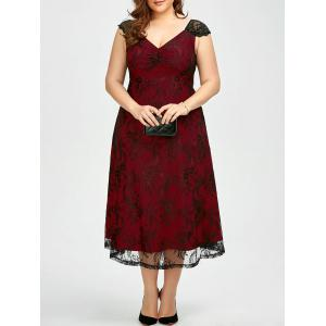 Vintage Plus Size Lace Prom Formal Evening Dress - Deep Red - 2xl