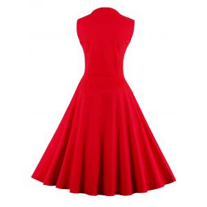 Vintage Polka Dot Bowknot Flare Dress - RED S