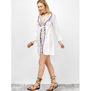 Long Sleeve Floral Embroidered Boho Mini Dress - WHITE ONE SIZE