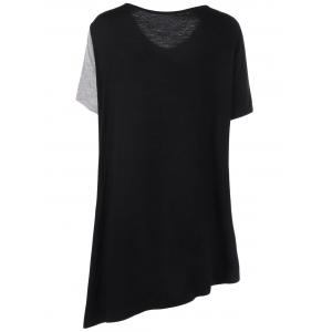 Asymmetrical Color Block Plus Size Long T-Shirt -