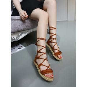 Espadrilles Tassels Gladiator Tie Up Sandals - BROWN 39