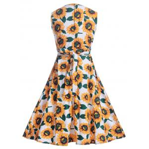 Sunflower Print Self-Tie Vintage Tea Dress - WHITE L