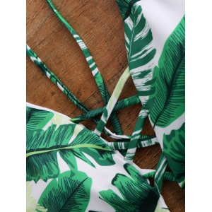 Palm Print Backless Padded One Piece Criss Cross Swimsuit - GREEN L