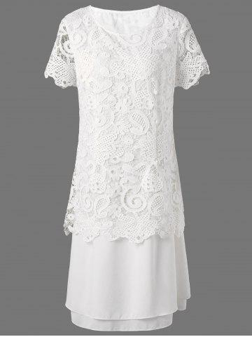 Affordable Midi Layered Lace Panel Dress - 2XL WHITE Mobile