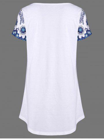 Trendy Printed Baggy T-Shirt - XL WHITE Mobile