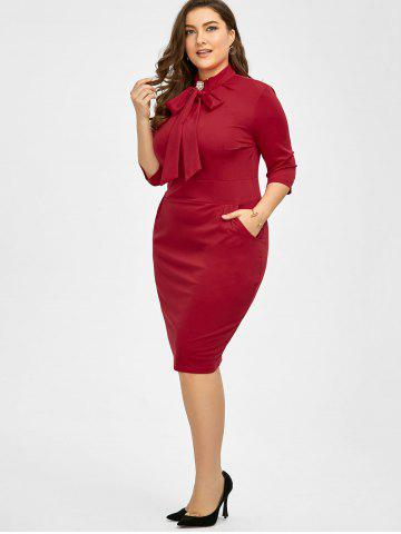 Outfit Plus Size Slit Knee Length Sheath Dress - 3XL RED Mobile