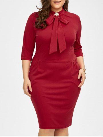 Outfit Plus Size Slit Knee Length Sheath Dress - 4XL RED Mobile