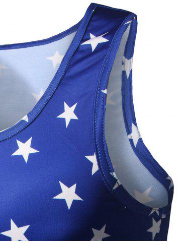 Latest All Over Star Printed Tank Top - M BLUE Mobile