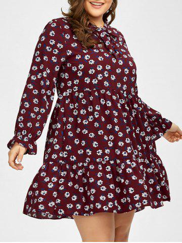 Best Plus Size Long Sleeve Chiffon Floral Swing Dress - 2XL PURPLISH RED C5 Mobile
