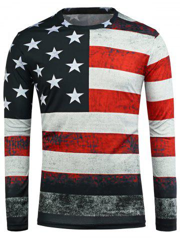 Buy Distressed American Flag Long Sleeve T-Shirt - XL COLORMIX Mobile
